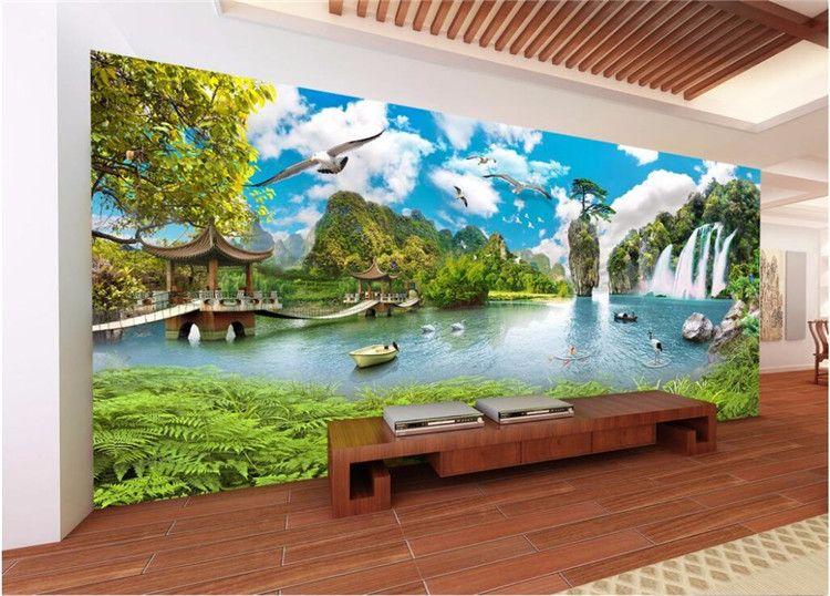 Acquista Foto Personalizzata Wallpaper Grandi Adesivi Murali Paesaggio  Cascata Paesaggio 3D TV Sfondo Muro Papel De Parede A $30.0 Dal Fumei66 |  ...
