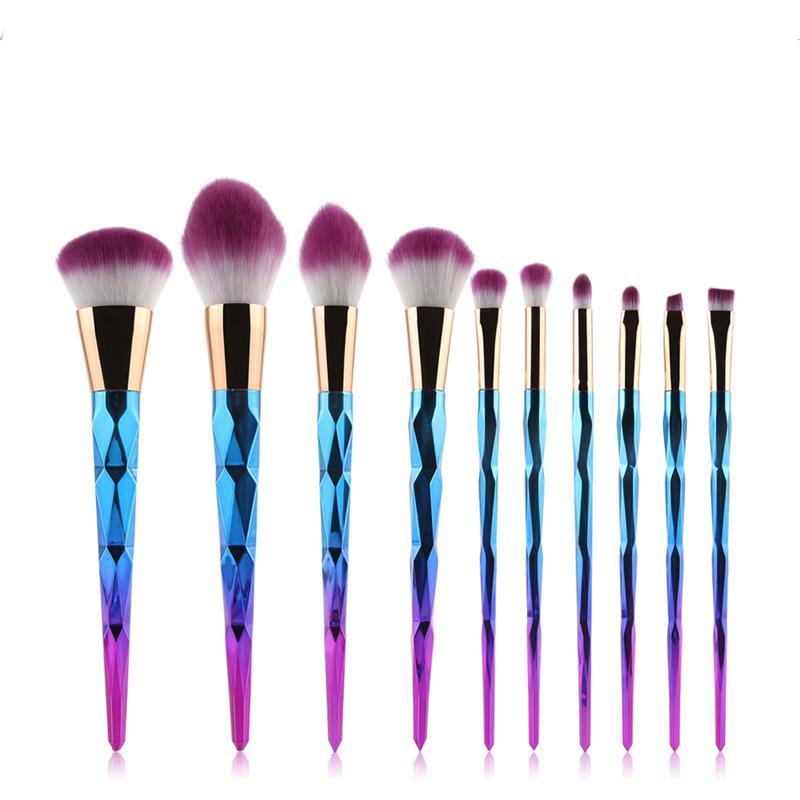 10 pçs / set Conjunto de Pincel de Maquiagem Profissional Blush Em Pó Sobrancelha Sombra Nariz Lábio Rosa Mistura de Ouro Maquiagem Ferramentas Escova Cosmética