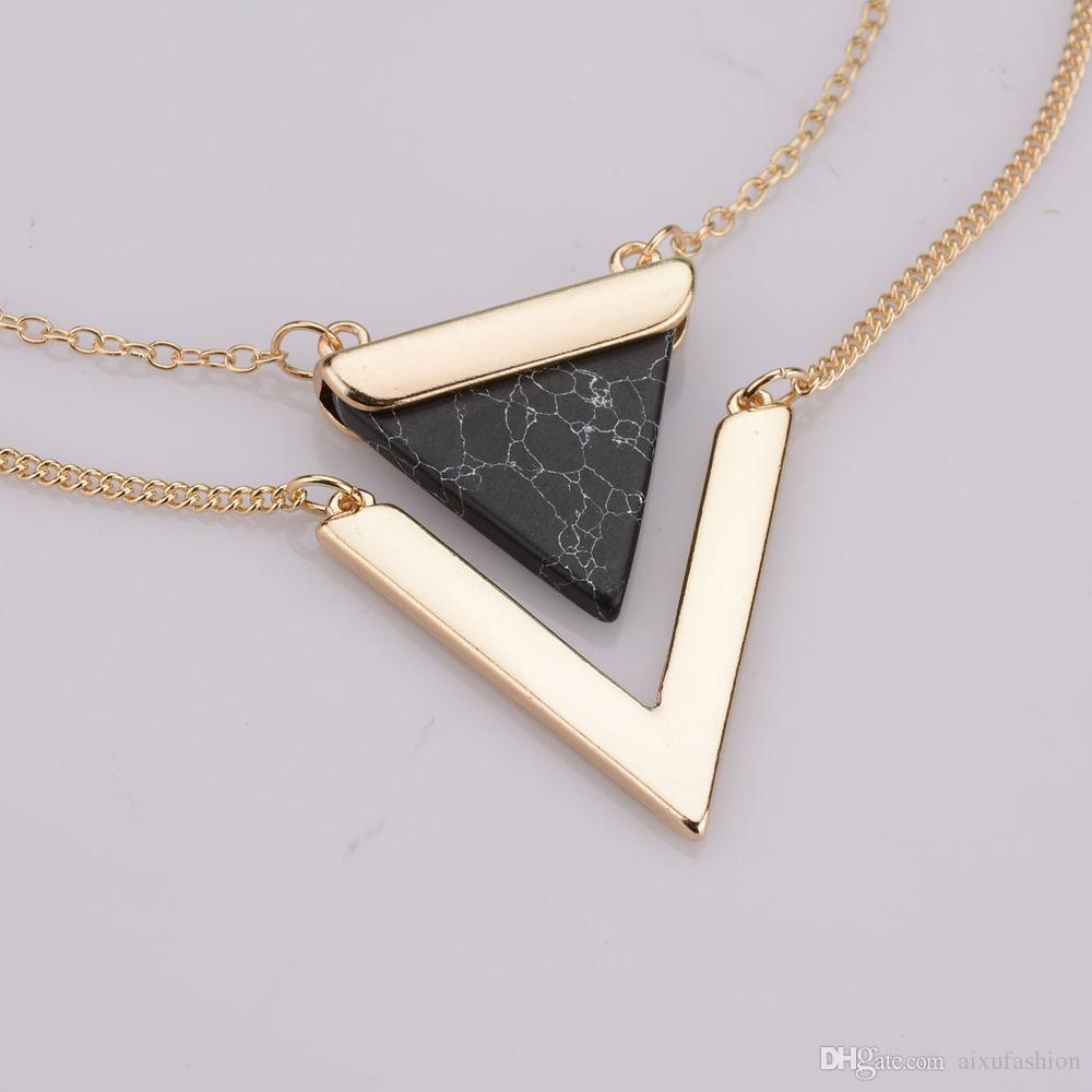 Triangle Hoard of Pendant Necklace Hot Style V-shaped Double Layers of Clavicle Chain Fashion Women Pendant Necklaces Jewelry