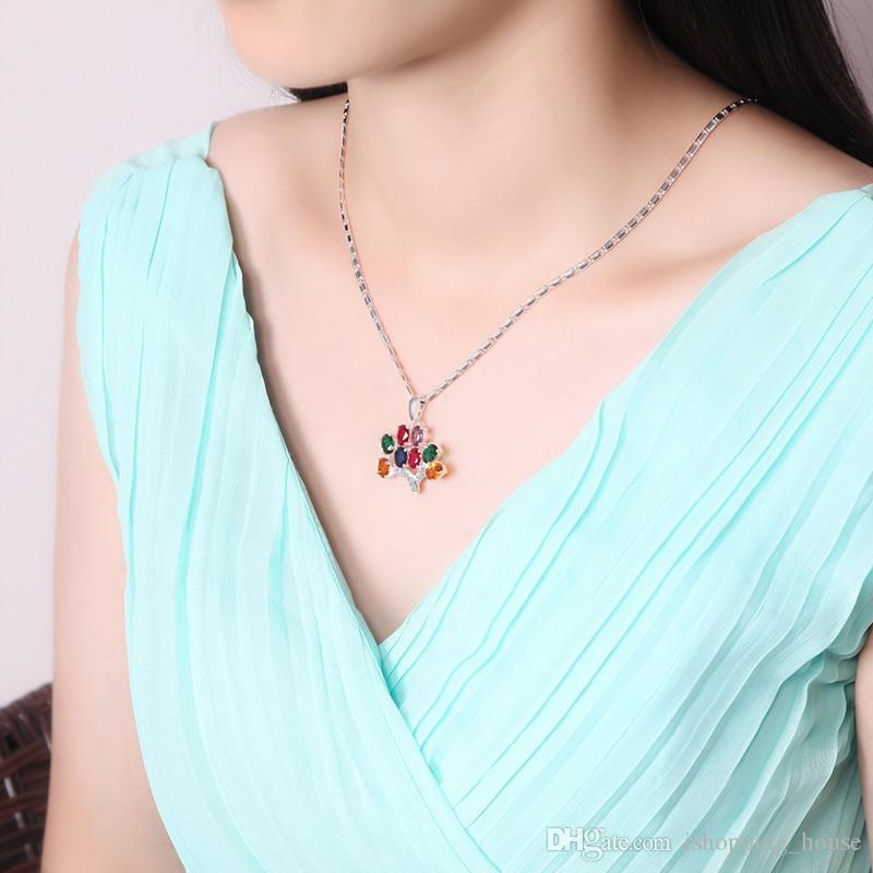 Luxury Jewelry Set 18K Yellow Gold Plated 925 Silver Plated Colorful CZ Tree Eaarings Necklace for Women for Party Wedding JNST1029