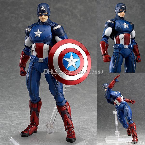 New hot sale anime figure toy Figma 226 America captain 16CM Birthday gift Christmas gift gift for Children