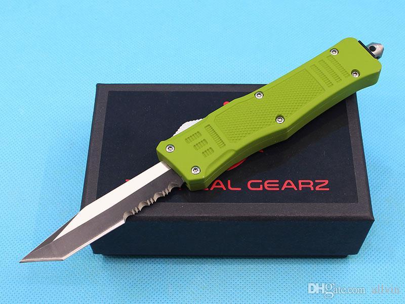Allvin Manufacture 7 Inch Small 616 Auto Tactical Knife 440C Tanto Half Serration Titanium Blade EDC Pocket Knives