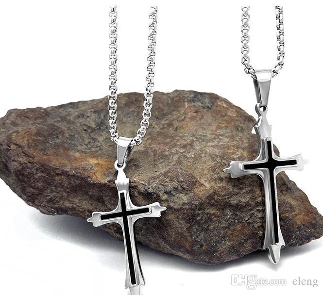 Homme Classique Acier Inoxydable Mens Christian Cross Pendentifs Colliers 166