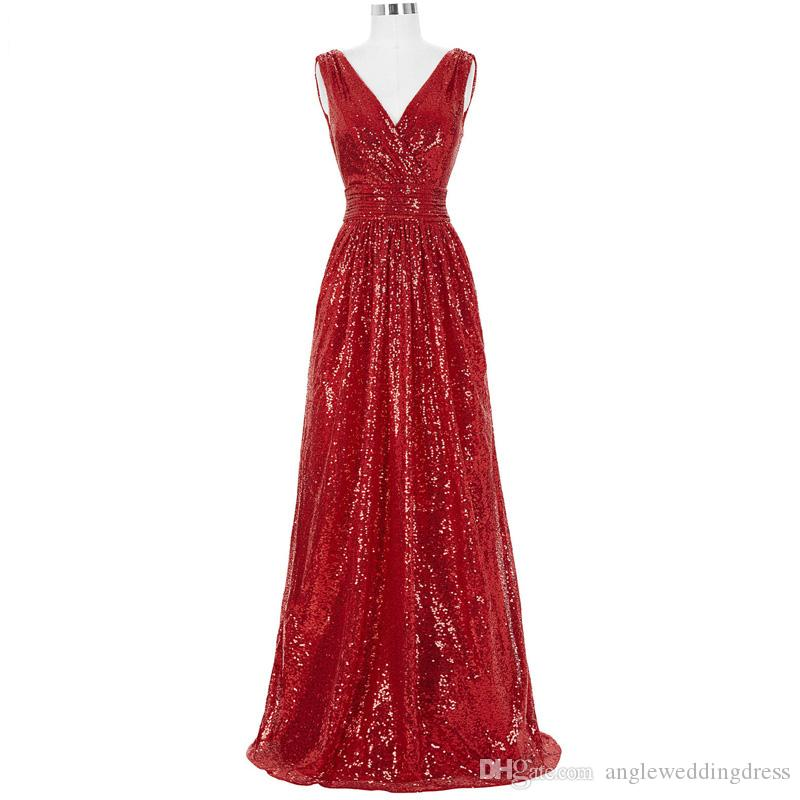 Long Bridesmaid Dresses Red Silver Pink Black Gold Sequins Wedding ...