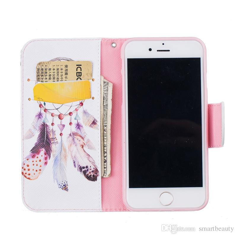 Wind Chime Wallet Funda de cuero para Iphone 5 6S 7 7 Plus Soporte trasero Soporte titular de la tarjeta de crédito Slot Phone Cases