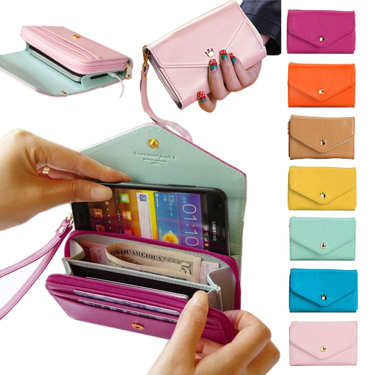 Wholesale- Women Brand women  s Wallets Famous brand Designer Leather Purses  Multi Colors Card Holder Women Phone Wallets for iphone 5 5s 1efe9f3149