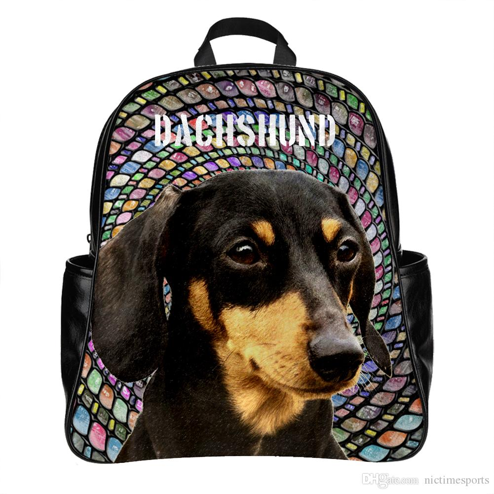 54b22242b7f Customized Backpack With Dachshund Dog Picture 3d Printing School Bag  Backpack For Boys Girls Pu Leather Bags For Sale Waterproof Rucksack From .