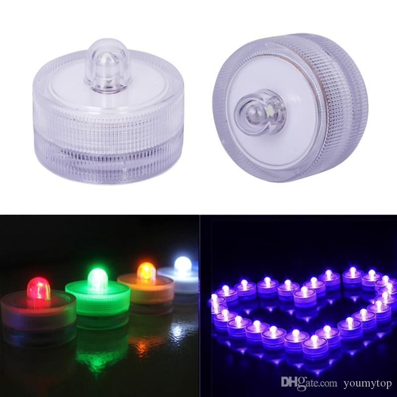 2017 New 10pcs Waterproof Round Submersible LED Tea Light Electronic Candle Light for Wedding Party Christmas Valentine Decoration