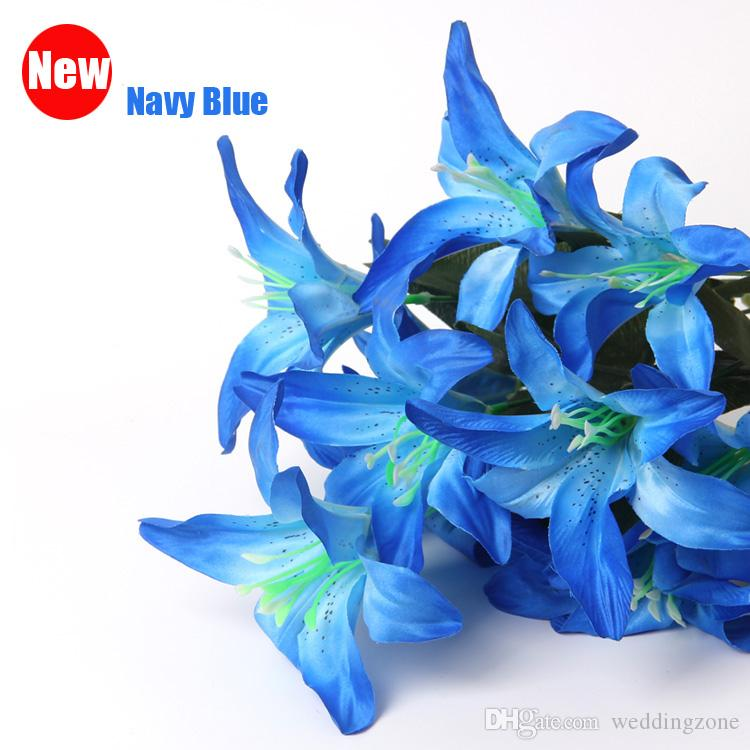 Perfume Lily 10 heads Raw Silk Flower & Plastic cement Leaves Artificial Flowers For Wedding,Home,Party,Gift