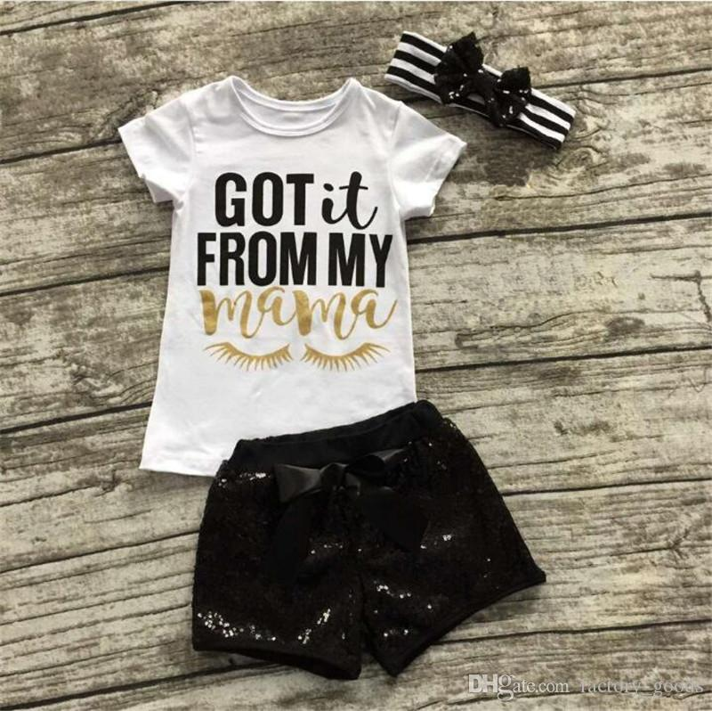 Summer Baby Clothing Sets Girls Short Sleeve T-shirt+Hairbands Bow+Sequins Shorts Letters Printed Suit Kids Clothes 212