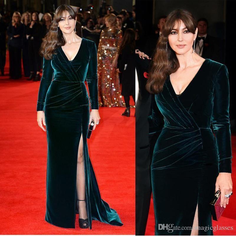 2017 Celebrity Evening Dresses Red Carpet V Neck Long Sleeve Formal