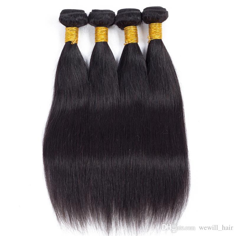 Super schönes gerades Haar Bundles brasilianisches reines Menschenhaar Webart Weben Extensions 100g Stück unverarbeitete reine Haar Bundle Angebote