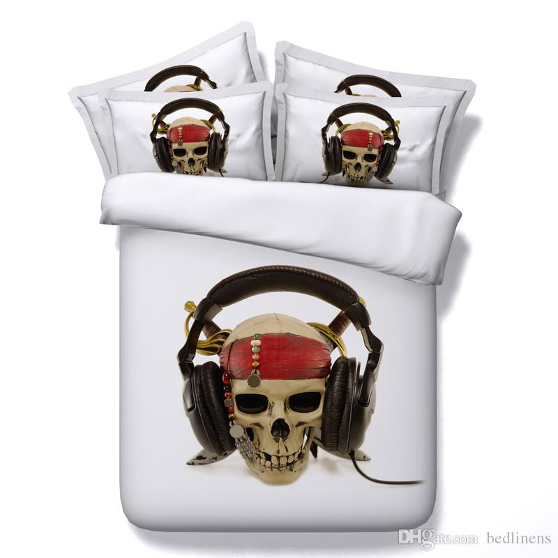 4 Styles Halloween White Music Headset 3D Skull Printed Bedding Sets Twin Full Queen King Size Bedspread Bed Duvet Covers Gun Gift 3/