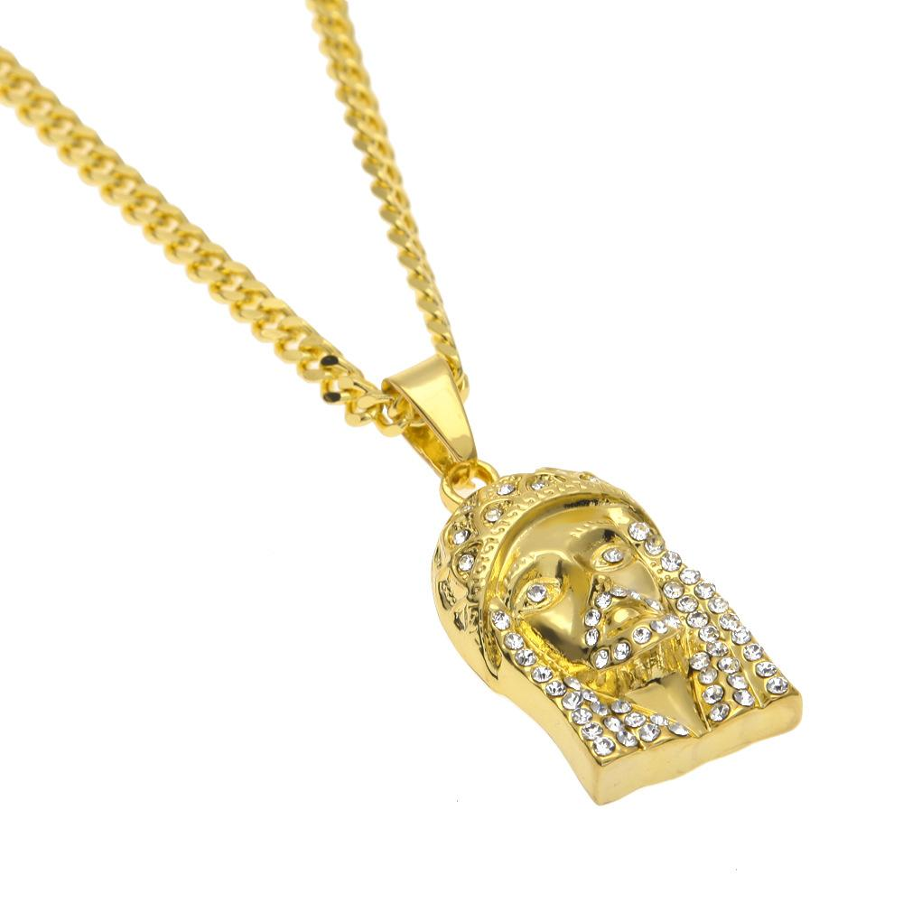 Full Diamond Jesus Charms Hip-Hop Pendant Necklace For Men 18K Gold Plated Party Jewellry 2017 Hot Sale