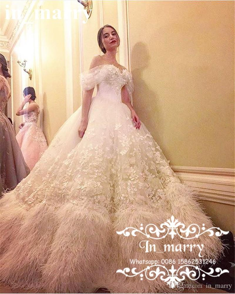 Luxury 3d Floral Feather Ball Gown Wedding Dresses 2017 Off Shoulder ...