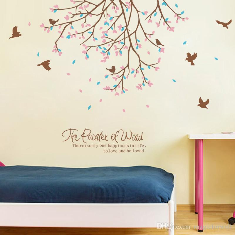 flying birds among flowers tree branches wall stickers living room