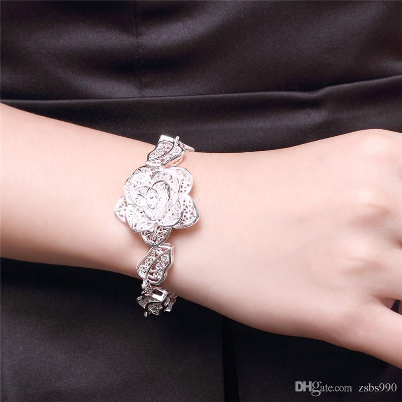 Moda 925 Sterling Silver Rose Flower charm Pulsera mujeres de alta calidad de 8 pulgadas de largo ENVÍO GRATIS 10 unids