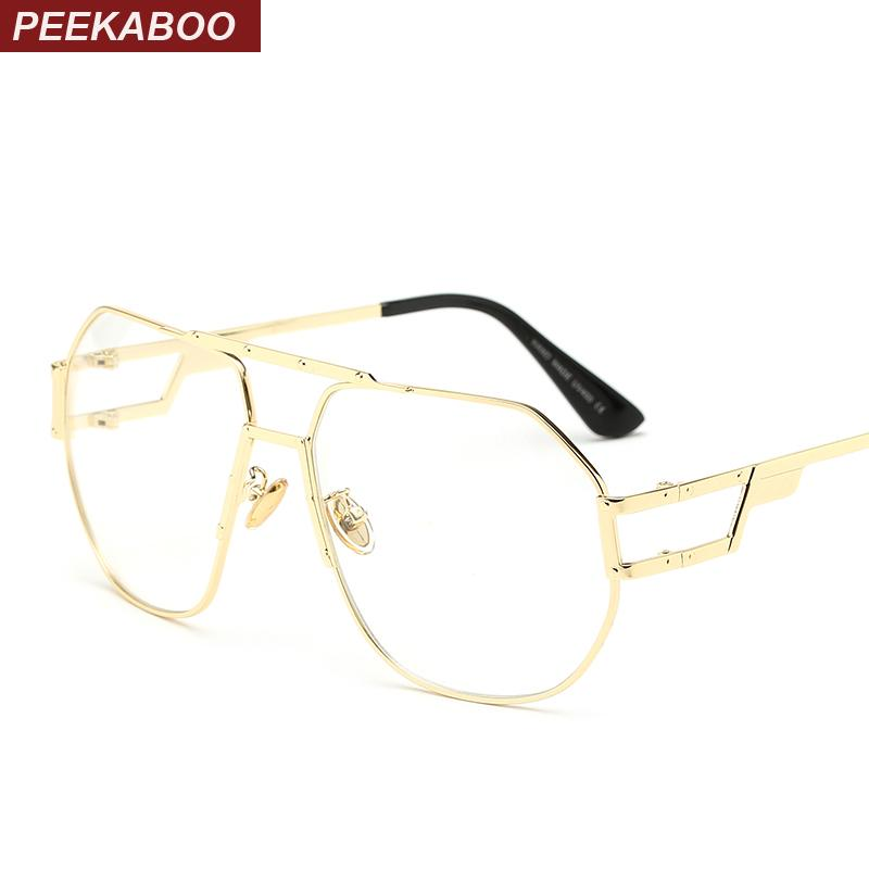 2018 Wholesale Peekaboo Gold Metal Frame Eyeglasses Women Brand ...