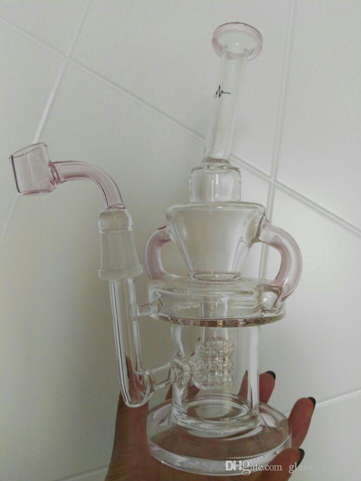 Pink Yellow Green Purple Pulse Glass Bongs Klein Recycler Oil Rigs wax Smoking Pipes Hookahs 2 Function Fab Egg Heady Chamber