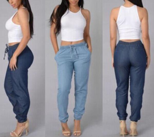 0eb140409 Compre Cintura Elástica Calça Jeans Venda Quente Calças Lápis De Cintura  Baixa Solto Moda Womens Casual Calças Calças Casual Bottoms 2 Cores De  Kbetty168, ...