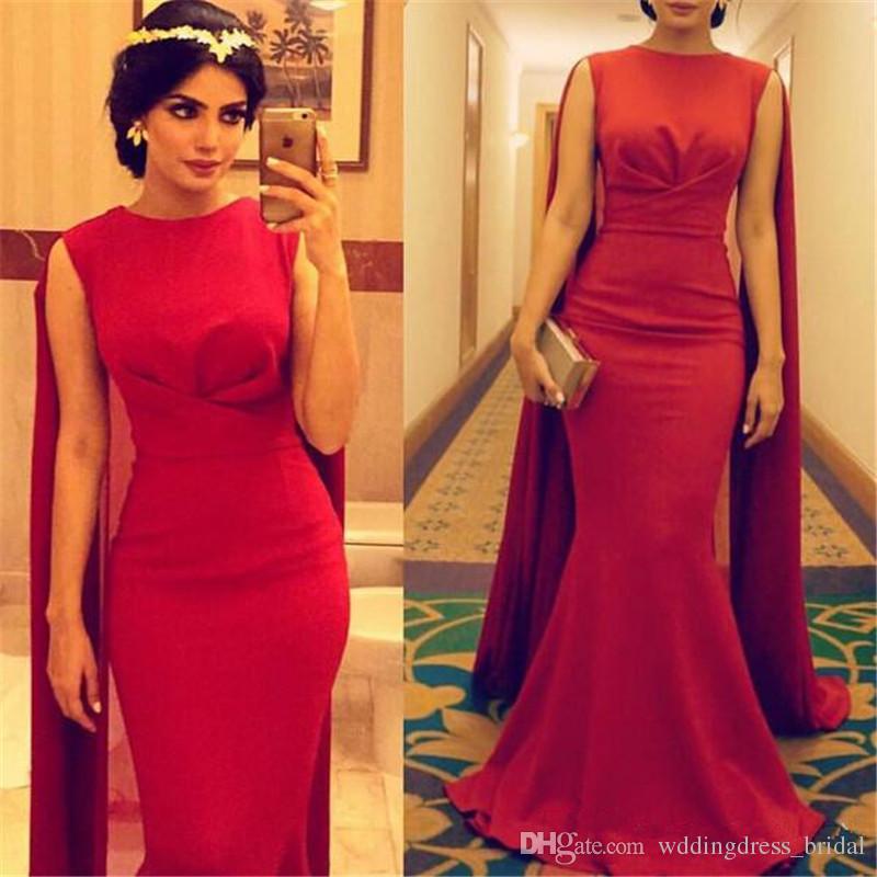 Red Dubai Evening Dresses with Shawl Floor Length Mermaid Arabic ...