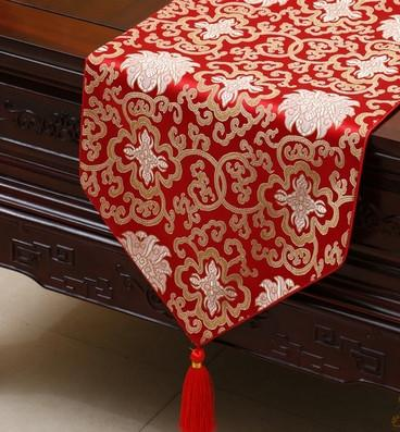 Extra Long 120 Inch Happy Flower Table Runner Luxury China Silk Brocade  Table Cloth High End Dining Table Protective Mats Placemat 300x33 Cm  Halloween Table ...