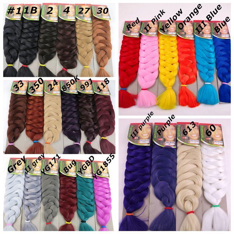 Trança de Cabelo Sintético Jumbo Tranças de Cabelo Em Massa 82 polegadas 165G Crochet Torção Extensões de Cabelo Sintético Em Estoque