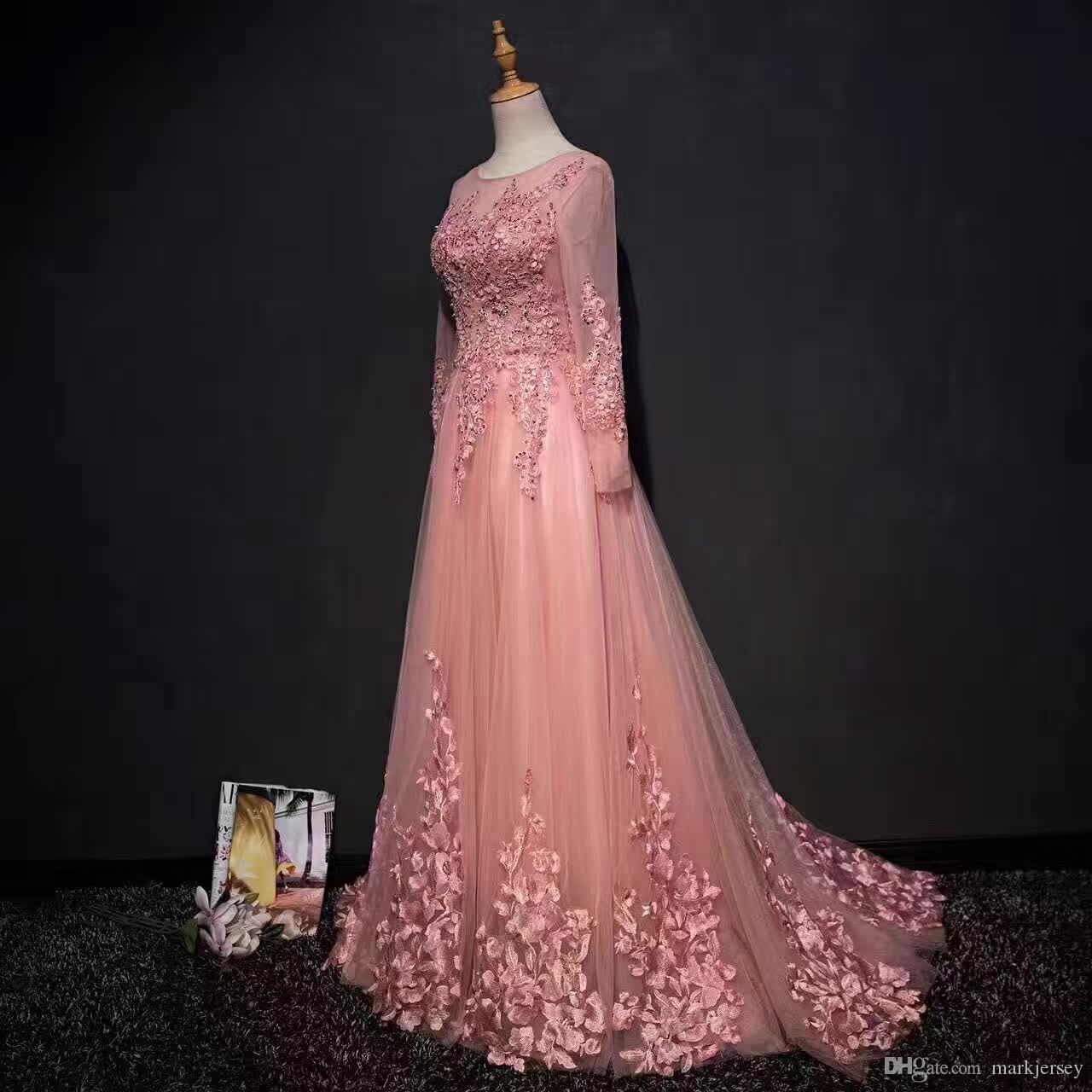 2018 Pink Wedding Dress Long Sleeve Sect Dress Crew Dressing Flowers ...