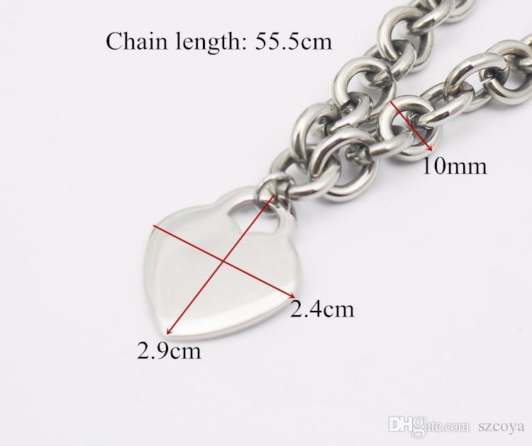 10 mm de ancho de metal de acero inoxidable collar de cadena de plata para las mujeres gran corazón colgante encanto 2.9 cm * 2.4 cm corazón etiquetas en blanco