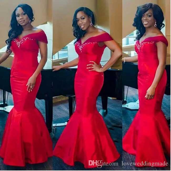 Plus Size Red Mermaid Evening Dresses 2017 Off The Shoulder Beading Floor Length Wedding Party Gowns Arabic Long Prom Gowns
