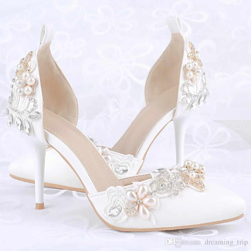 White Pointed Toe High Heel Bridal Shoes 2017 Nice Silver Rhinestone Pearls  Lady Wedding Party Pumps Sandals With Ankle Straps Shoes Wedding Shop For  Shoes ...