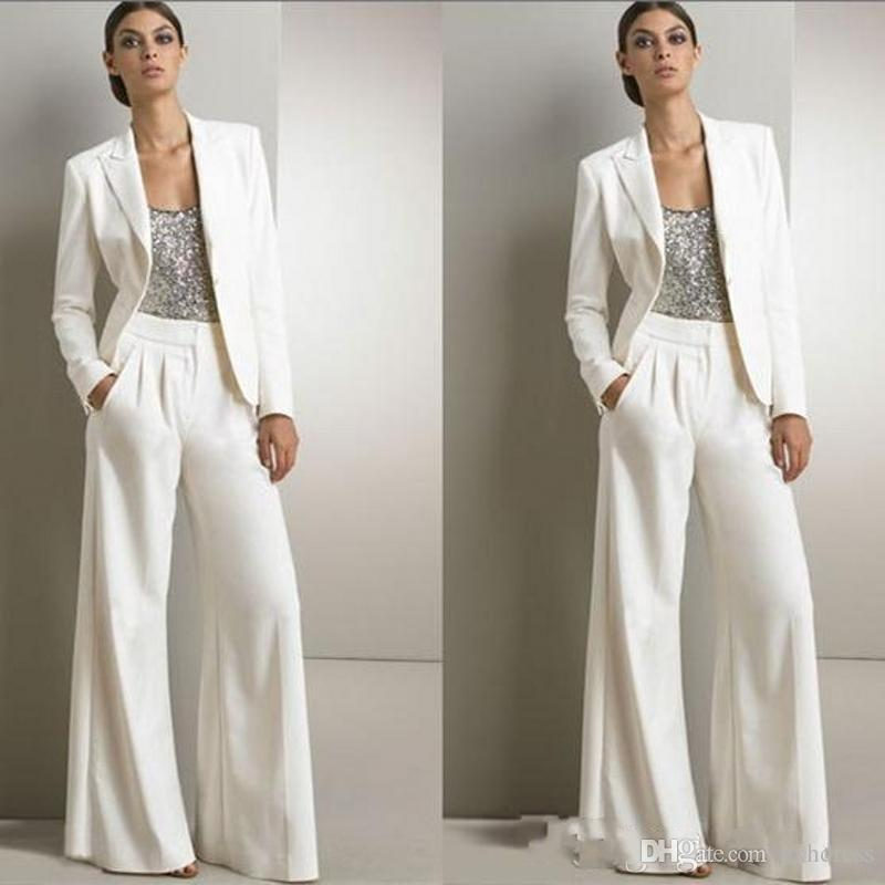 2019 New Modern White Three Pieces Mother Of The Bride Pant Suits For Silver Sequined Wedding Guest Dress Plus Size Dresses With Jackets 127