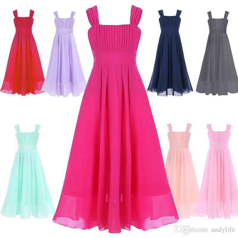 Großhandel 11 15y Kinder Mädchen Blume Chiffon Kleid Für Party Und ...