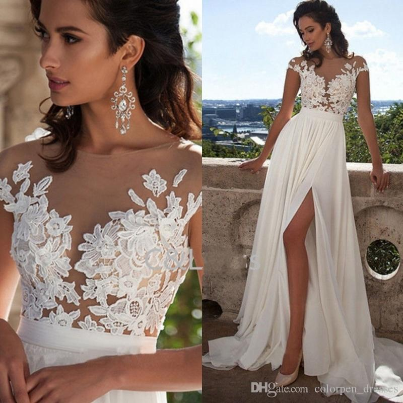 Discount Fashion Elegant Lace Long Beach Wedding Dresses 2017 New Arrivals Sexy Sheer Neck Thigh High Slits Aline Sleeveless Bridal Gowns Cheap Gown