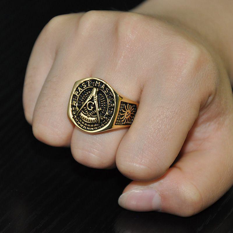 MCW HIP HOP Estilo Livre Maçônico Anel Titanium Steel AG Maçom Padrão Passado Master Letras Anéis de Ouro Cor