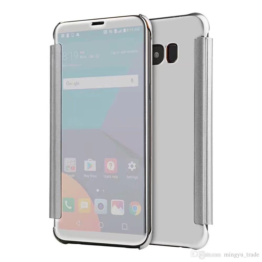 sports shoes 1e731 b687f For Samsung S8 plus Clear View Cover Luxury Smart Mirror Screen Flip PU  Leather Holster Case S8 S8 plus