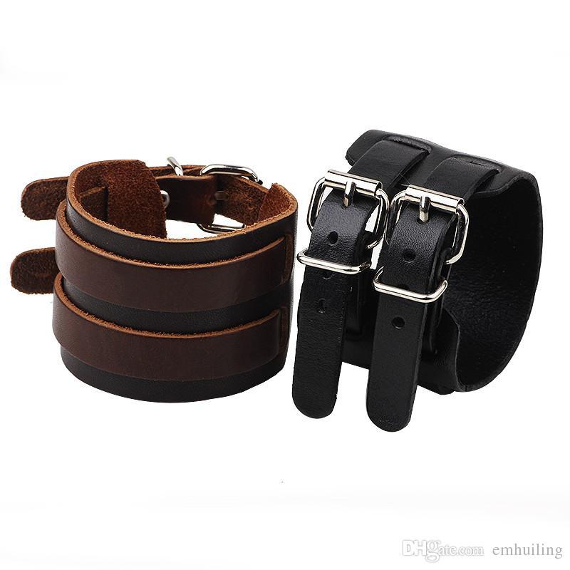 Outstanding Vintage Brown Black Wide Belt Style Genuine Leather Bracelet Cuff Bangle Cool Punk Rock Tribe Adjustable Wristband Men Bracelet