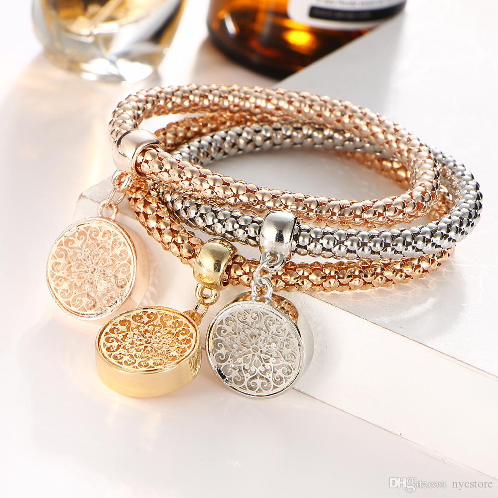 European In One Bracelets Fashion 18K Gold Plated Silver Rose Gold Metal Elastic Life Tree zircon Pendant Bracelet Chain Jewelry Sets
