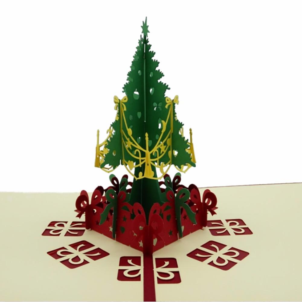 3D Happy Tree Christmas Cards Luxury Handmade Paper Card ...