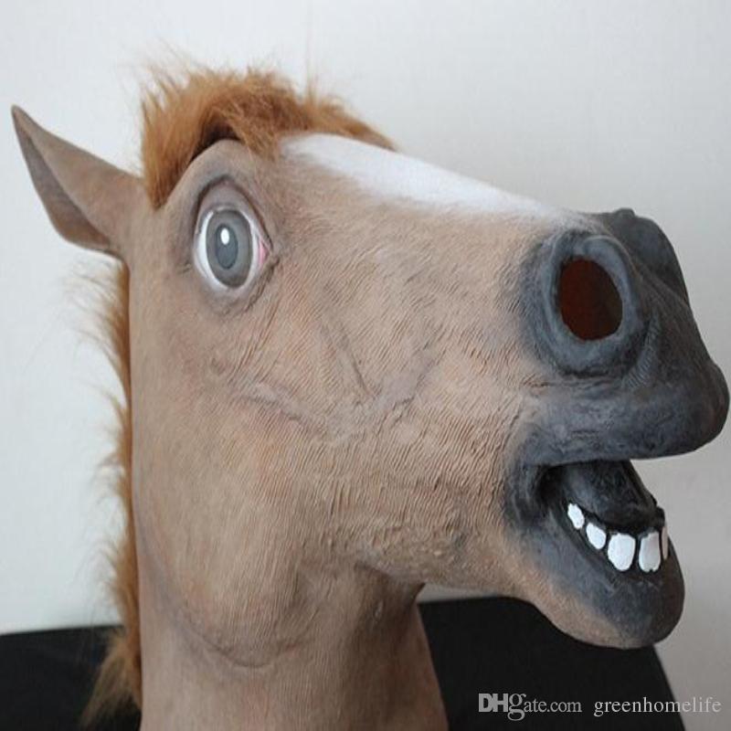 5types Eco- feriendly látex completa Cara do cavalo Halloween Máscara novidade Creepy Chefe do látex por Máscara Masquerade Party