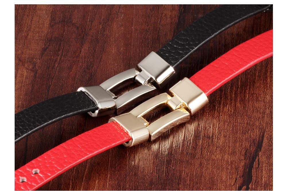 Leather Charm Bracelets For Woman Man Personality Black/Red Color Stainless Steel Women Men Jewelry Bracelet Gift PH985