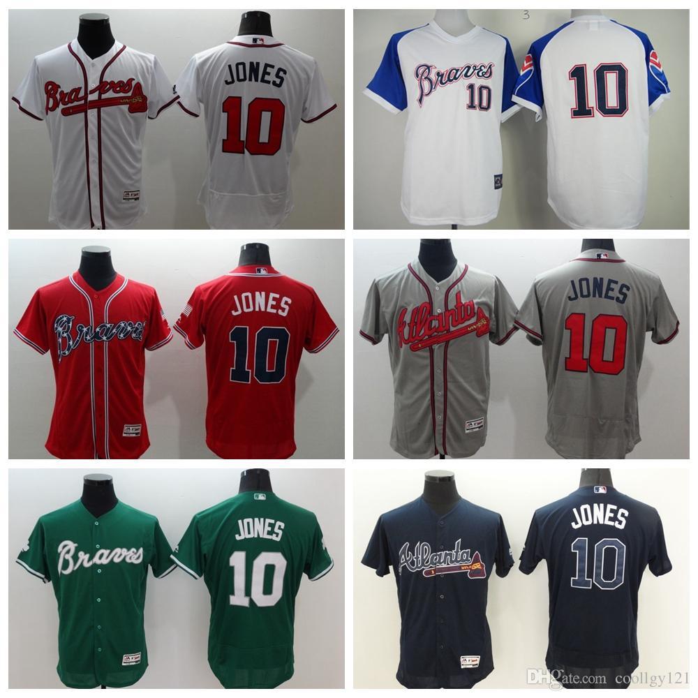 84dabe98 ... 2017 Cheap 10 Chipper Jones Jersey Atlanta Braves Flexbase Chipper Jones  Baseball Jerseys Cool Base Shirts Mens ...
