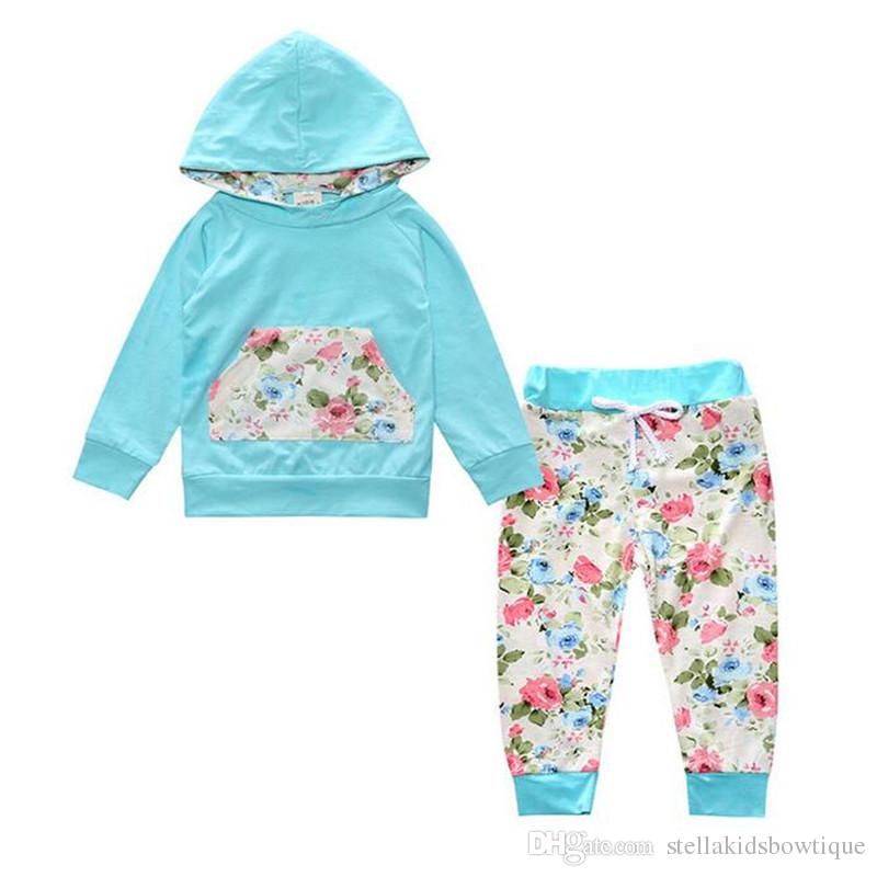 2017 New Baby Clothes Long Sleeve Girls Hoodies Floral Pants Baby Girls Clothing Set Autumn Toddler Hoodies Set