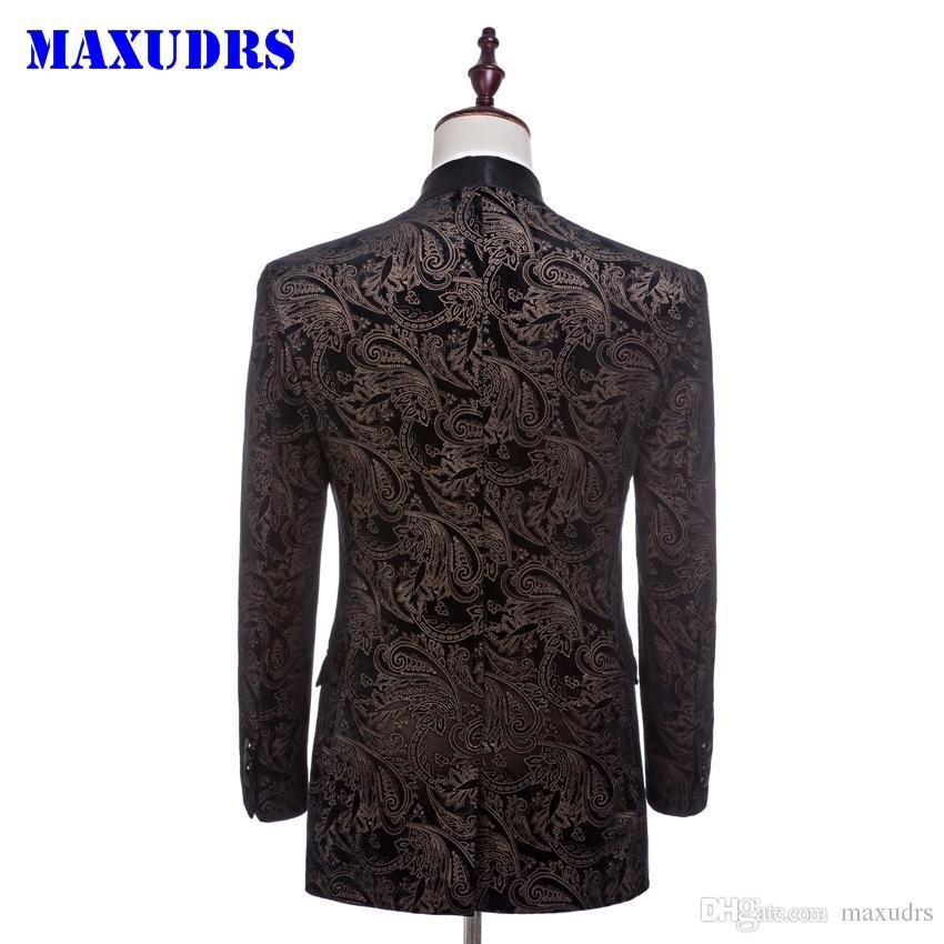 2017 Kadife Adam Suits Özel Yapılmış Damat Smokin Moda Sağdıç Takım Ince Homecoming Suit Düğün Suit Blazer Ceket + pantolon