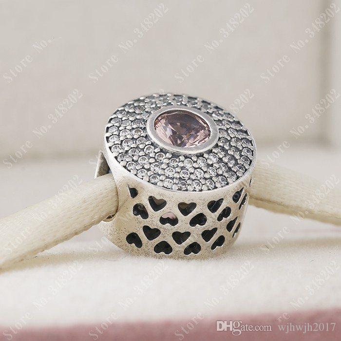 Nuevos granos del encanto cristalino redondo pavimenta adapta a las pulseras europeas del encanto 925 rosa de cristal de plata esterlina radiante esplendor de bolas de bricolaje joyería fina