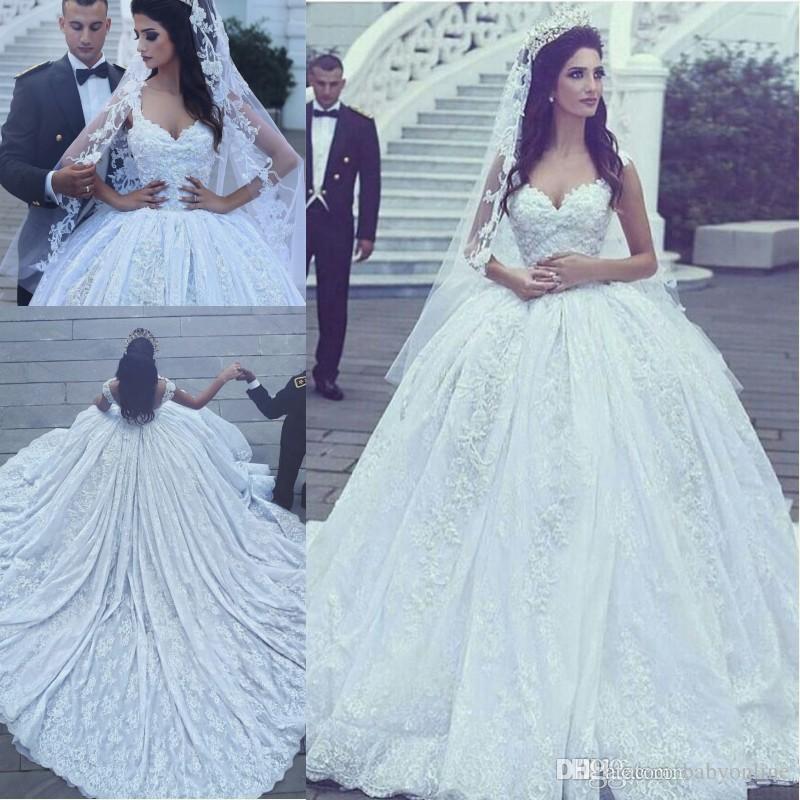Discount 2017 New Arabic Style Luxury A Line Wedding Dresses Lace Appliqued Beaded Chapel Train Ball Gown Princess Vestidos De Novias