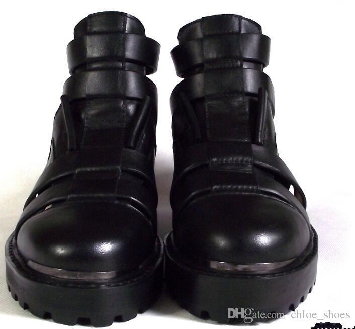 Caviglia nera Short Gladiatori Tacchi piatti in vera pelle tagliati da uomo Sandalias Strappy Mocassini Zapatillas Roma Sandali il tempo libero