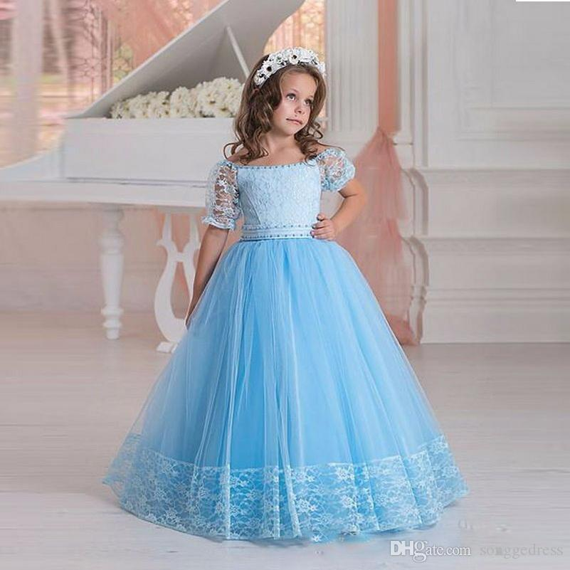 2018 New Elegant Flower Girl Pageant Dresse Boat Neck Princess Prom Dress Vestido Blue Lace Floor Length Party Dress for Girls