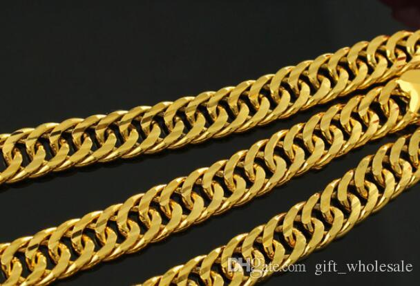 2017 Heavy MENS 24K REAL SOLID GOLD FINISH THICK MIAMI CUBAN LINK NECKLACE CHAIN
