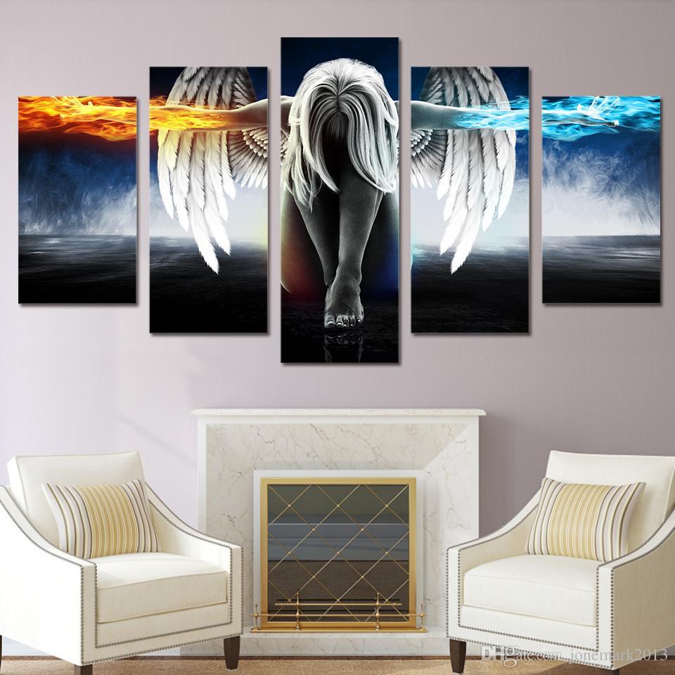 5 Pz / set Incorniciato HD Stampato su tela angelo di arte con ali pittura anime room decor stampa poster wall art Spedizione gratuita / up-874